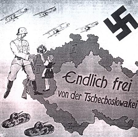 Jeden z propagačních nacistických plakátů s označením československých odstoupených území - Šumava tu má římské číslo I.