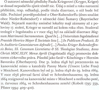 Odstavec o něm v práci Václava Petrboka Stýkání, nebo potýkání?