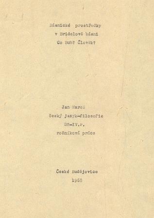 Titulní list ročníkové práce Jana Mareše o Bridelovi na filosofické fakultě Univerzity Karlovy, datované rokem 1968
