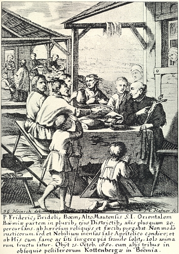 Bedřich Bridel(?) ve společnosti venkovanů