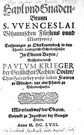 Obálka a titulní list ingolstadtského vydání jeho díla z roku 1658 ve sbírkých Bavorské státní knihovny...
