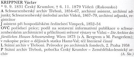 Jeho profil v Biografickém slovníku archivářů českých zemí
