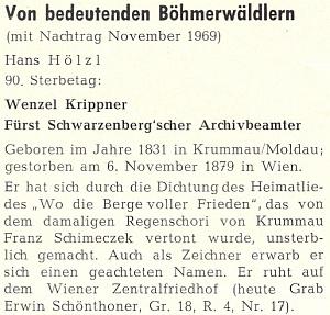 Takto vzpomněl Hans Hölzl 90. výročí Krippnerova úmrtí na stránkách krajanského měsíčníku