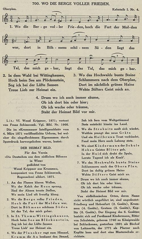 Gustav Jungbauer zařadil jeho zhudebněnou báseň do sbírky německých lidových písní ze Šumavy