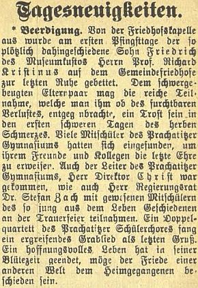Zpráva o pohřbu jeho syna Friedricha i za účasti vládního rady Stefana Zacha