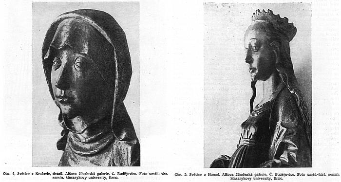 """Srovnání """"světic"""" z Kralovic a z Homol z obrazových příloh Kutalova článku v Časopise Národního muzea"""
