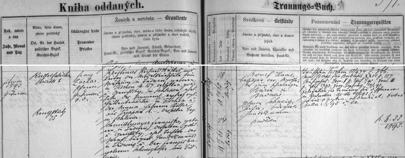 Záznam českobudějovické oddací matriky o jeho svatbě v únoru roku 1893 v Dobré Vodě u Českých Budějovic