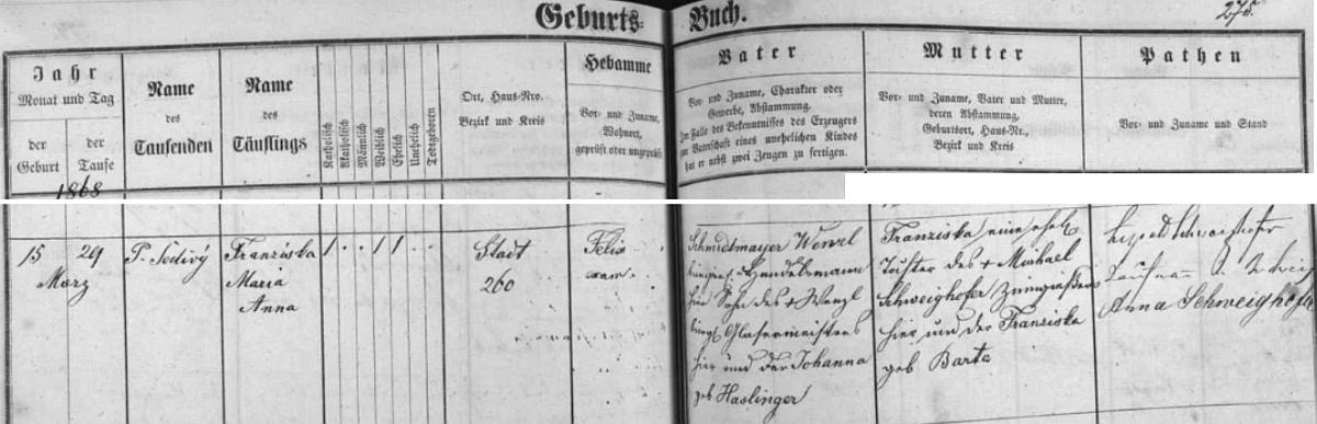 Záznam českobudějovické křestní matriky o narození jeho ženy Franzisky Marie Anny, roz. Schmidtmayerové