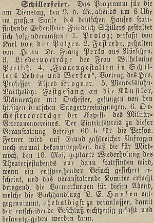 Tady podle zprávy českobudějovického německého listu vystoupil na slavnostním večeru k poctě Friedricha Schillera s přednáškou o postavách žen ve Schillerově životě a díle