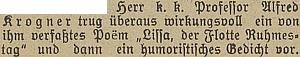 """Zmínka o jeho vystoupení na valné hromadě místní skupiny sdružení """"Österreichische Flottenverein"""" na stránkách Budweiser Kreisblatt"""