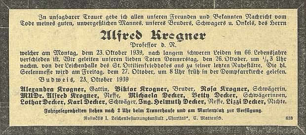 Zpráva o úmrtí a parte v českobudějovickém německém listě