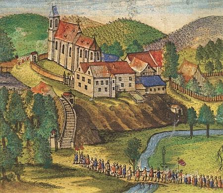 Nejstarší vyobrazení poutě do Kájova z roku 1660 s pozdně gotickou ještě podobou věže kostela před barokní přestavbou (viziMariaSchwarzová)