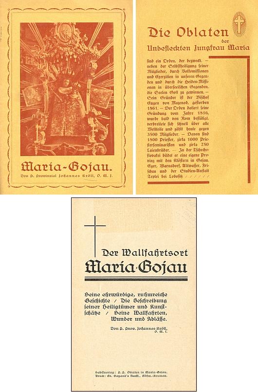 Líc a rub obálky, jakož i titulní list (1932) jeho brožury o poutním místě Kájov