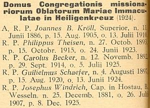 Soupis členů kongregace oblátů v Újezdu svatého Kříže z diecézního katalogu na rok 1930
