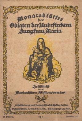 Obálka měsíčníku oblátů Neposkvrněné Panny Marie, do něhož také přispíval