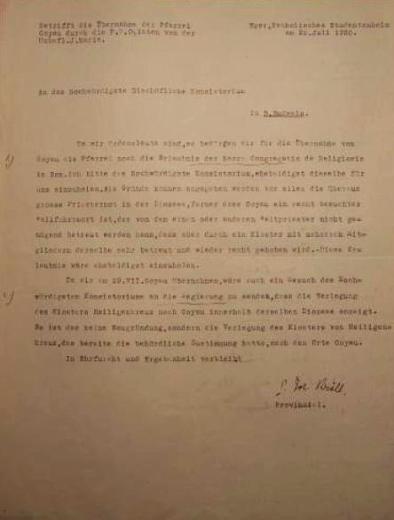 Jeho dopis z června 1930, adresovaný českobudějovickému biskupství, se žádostí o souhlas s převzetím poutního místa Kájov do užívání oblátů