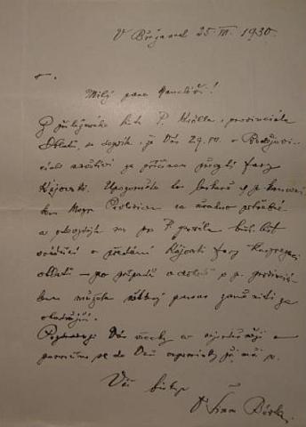 """Biskup Šimon Bárta píše už v červenci 1930 svému kancléři, aby P. Kröllovi odevzdal list pro řádového """"otce generála"""" o předání kájovské fary kongregaci oblátů"""