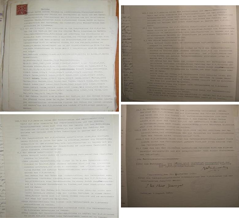 Smlouva ze srpna a září roku 1930 mezi knížetem Schwarzenbergem a P. Kröllem o užívání farnosti Kájov obláty