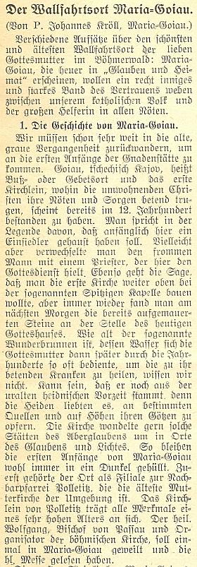 Úvod jeho příspěvku o mariánském poutním místě Kájov, který vycházel na pokračování v německém diecézním listě českobudějovického biskupství