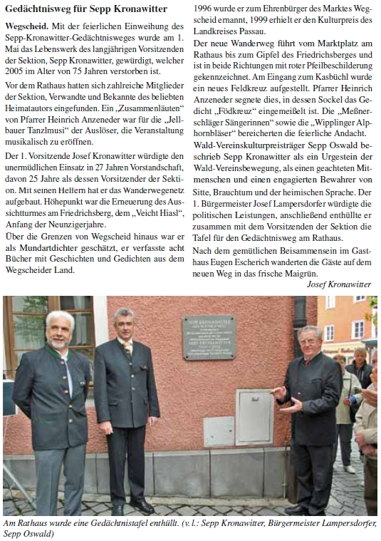 Na zdi radnice města Wegscheid byla mu v roce 2010 odhalena pamětní deska