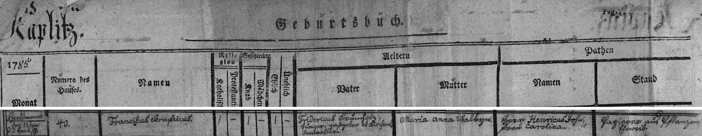 Záznam o jeho narození v kaplické matrice