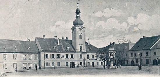 Radnice v Kaplici na Seidelově snímku z přelomu 19. a 20. století