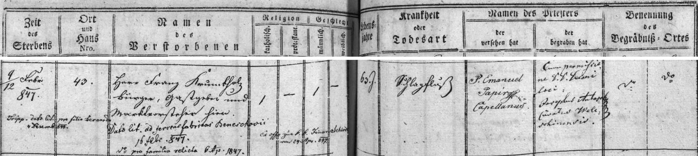 Záznam kaplické úmrtní matriky o jeho skonu