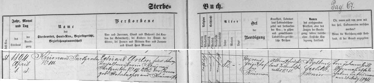 """Záznam českokrumlovské Knihy zemřelých o úmrtí Eduarda Antona, označeného zde """"knížecí schwarzenberský kapelník"""""""