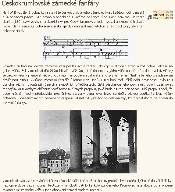 Zvukový záznam vytrubování z krumlovské zámecké věže a další informace o krumlovských zámeckých fanfárách