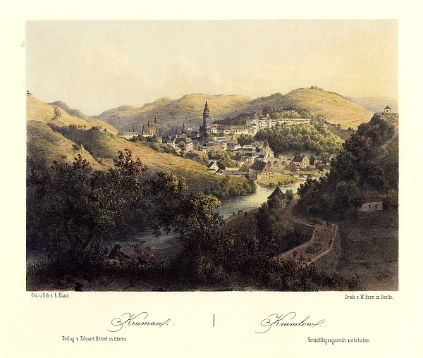 Krumlov na barevné litografii Augusta Hauna (1864)