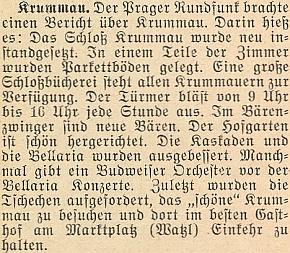 Ze zprávy říjnového čísla krajanského měsíčníku v roce 1953 vysvítá, že toho roku věžný ještě od 9 do 16 hodin vytruboval každou denní hodinu