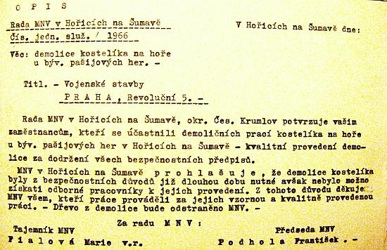 Dokument Místního národního výboru v Hořicích na Šumavě o likvidaci kaple