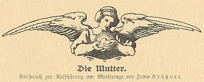 Kresba k její básni Die Mutter od pražské malířky Franzisky Jakschové