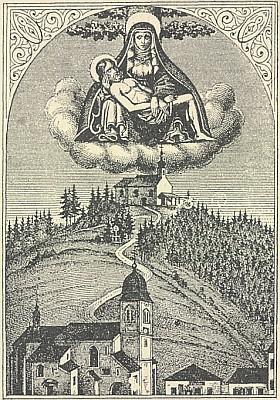 """Další svatý obrázek z Randlesberku zachycuje kromě """"kaple navrchu"""" ještě starou podobu věže hořického kostela"""