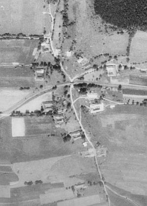 Skříněřov na leteckých snímcích z let 1952 a 2008