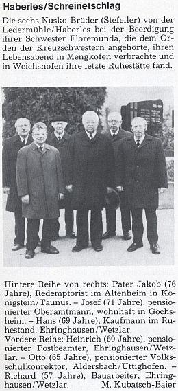 Její text o 6 bratrech Nuskových z Ledrova mlýna u vsi Ovesné (Haberles) je doprovázen snímkem jejich sešlosti napohřbusestry