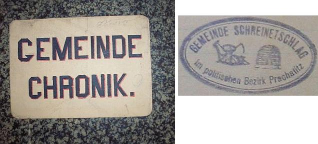 Obálka (1924) skříněřovské obecní kroniky a razítko obce na jejím titulním listě se symboly práce a spořivosti