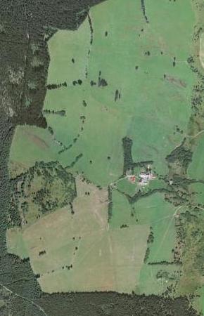 Staré Hutě na leteckých snímcích z let 1951 a 2008