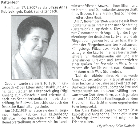 Nekrolog jeho ženy Anny na stránkách krajanského měsíčníku