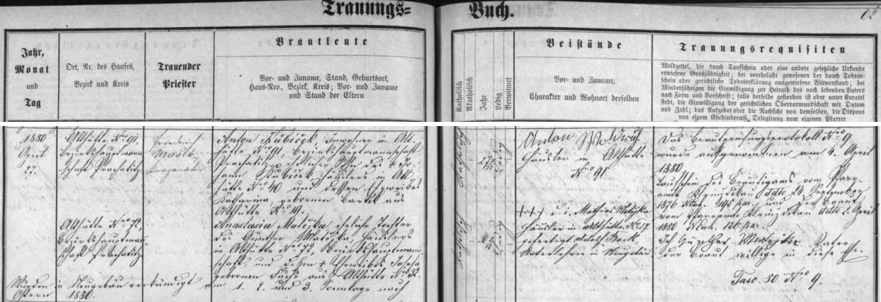 Záznam v oddací marice farní obce Nový Svět o tamní dědečkově svatbě v dubnu roku 1880 s Anastasií Matějkovou, dcerou Günthera Matějky ze Starých Hutí čp. 72 a Josefy, roz. Fuchsové ze Starých Hutí čp. 32