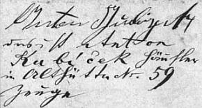 """Tady se dědeček jako svědek při svatbě Josefa Woldřicha a Wilheminy Matějkové podepsal """"Anton Gubiczek"""""""