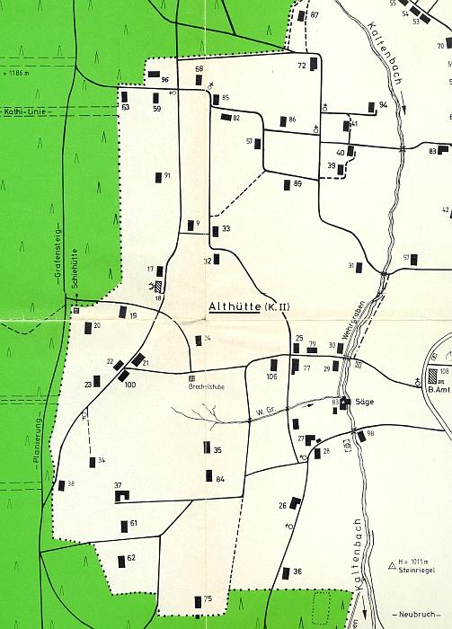 Plánek Starých Hutí podle stavu v roce 1945 zachycuje i chalupy čp. 40, 41 a59 při Studeném potoce a blízko lesa