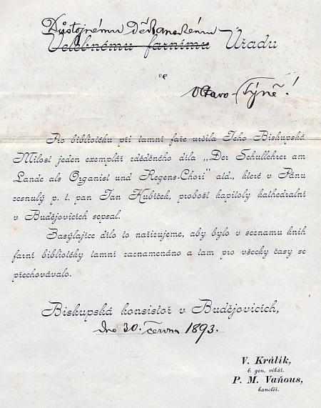 Dopis budějovické biskupské konzistoře z roku 1893, přiložený kzásilce jeho knihy, v tomto případě vltavotýnskému děkanství