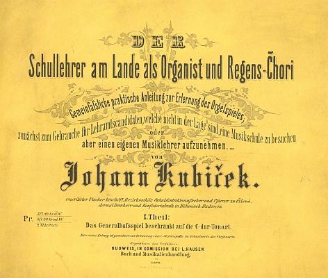 Obálka (1870) prvního svazku jeho hudební příručky pro venkovské učitele