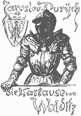 Rytina s valdštejnským motivem podle Kubinovy kresby na vazbě německého překladu knihy Jaroslava Durycha Valdice (1934; závěrečná část trilogie Rekviem)