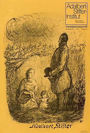 """Jeho litografie, nazvaná """"Adalbert Stifter"""", z roku 1935 na obálce čtvrtletníku Institutu Adalberta Stiftera v Linzi (1979)"""