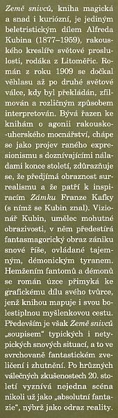 """Obálka pozdního (1997), po 50 letech druhého vydání českého překladu Kubinova románu """"Die andere Seite"""" (česky jako """"Země snivců""""), který pořídil Ludvík Kundera"""