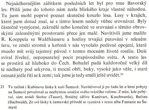"""Odstavec doplňku (1927) k jeho vlastnímu životopisu svědčí o tom, co pro něho """"česko-bavorský les"""" znamenal"""
