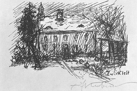 Kubinův dům ve Zwickledtu na jeho kresbě z roku 1936...