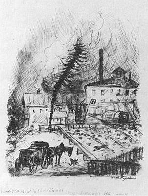 Venkovský pivovar v jižních Čechách na jeho lavírované kresbě z doby někdy kolem rolku 1930